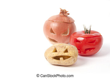 Jack-o-Lanterns made out of Fruit and vegetables - Halloween...