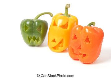 Jack-o-Lanterns made out of vegetables