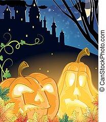 Jack O Lanterns near the haunted castle