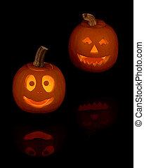 Jack-O-Lanterns - Two smiling jack-o lanterns with...