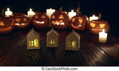 jack-o-latern, potirons, bougies, halloween