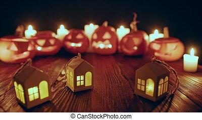 jack-o-latern, potirons, halloween, bougies