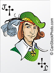 Jack of clubs. Deck romantic graphics cards