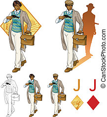 Jack of diamonds afroamerican boy with a gun Mafia card set...