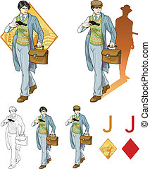 Jack of diamonds asian boy with a gun Mafia card set