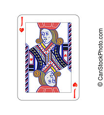 Jack of hearts playing card with isolated on white