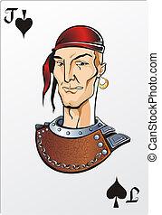 Jack of spade. Deck romantic graphics cards