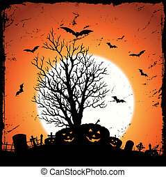 Jack O'Lantern Background - Illustration of grunge pumpkins...
