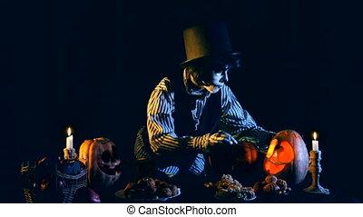 Jack O'lantern Ligntening Candles Inside Pumpkins - Shooting...