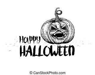 Jack pumpkin and typography greetings