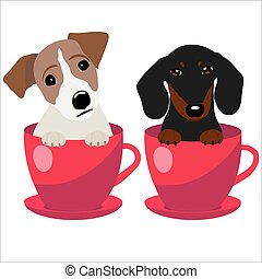 Jack Russell Terrier and Dachshund dog in red teacup, illustration, set for baby fashion.