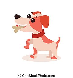 Jack russell terrier character eating bone, cute funny dog vector Illustration