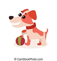 Jack russell terrier character playing with ball, cute funny dog vector Illustration