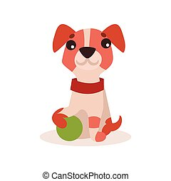 Jack russell terrier character playing with green ball, cute funny dog vector Illustration
