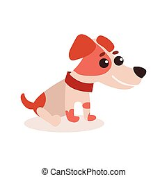 Jack russell terrier character sitting on the floor, cute funny dog vector Illustration