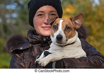 Jack Russell Terrier - Young woman and her Jack Russell...
