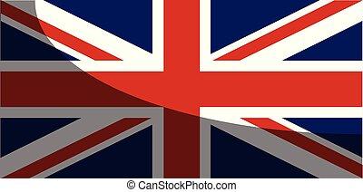 jack, skugga, flagga, förening