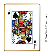 Jack Spades - The playing card the Jack of spades over a...