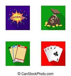 Jack sweat, a bag with money won, cards for playing Bingo, playing cards. Casino and gambling set collection icons in flat style raster, bitmap symbol stock illustration web.