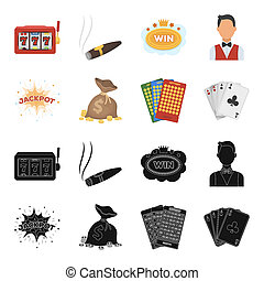 Jack sweat, a bag with money won, cards for playing Bingo, playing cards. Casino and gambling set collection icons in black,cartoon style bitmap symbol stock illustration web.