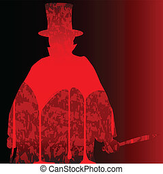 Jack the Ripper clipped on a bloody dark red background