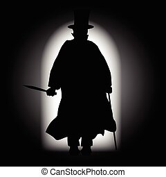 Jack the Ripper walking through a dark alleyway with the light behind