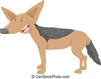 jackal cartoon animal character - Cartoon Illustration of...