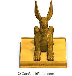 jackal statue - rendering of eygptian jackal god statue with...