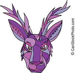 Jackalope Head Front Mosaic - Mosaic low polygon style...