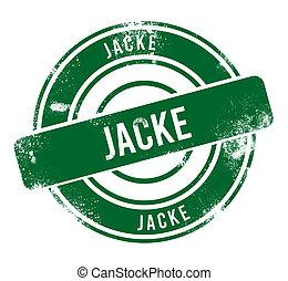 jacke - green round grunge button, stamp