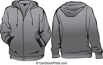 jacke, oder, sweatshirt, schablone, mit, reißverschluss
