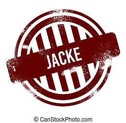 jacke - red round grunge button, stamp