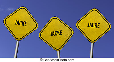 jacke - three yellow signs with blue sky background