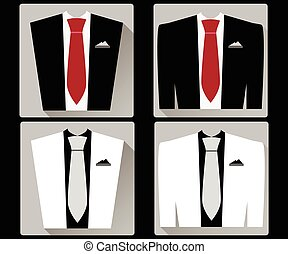 Jacket and vest with a tie in a flat style. White and black jacket. Red tie. Vector illustration.