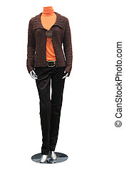 jacket, blouse, trousers on mannequin