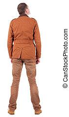 jacket., collection., habillé, isolé, homme, jean, debout, stylishly, jeune, arrière-plan., vue, brun, dos, sur, arrière, haut., arrière, type, gens, regarder, person., blanc, jackett