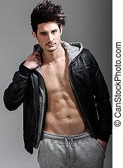jacket., homem, hoodie, atlético, tiro estúdio, desgastar