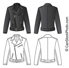 Jacket - Outline black-white jacket vector illustration...