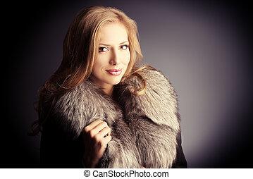 jacket luxurous - Portrait of a beautiful woman in a jacket...