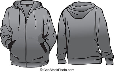 Sweatshirt or hoodie template with zipper vector
