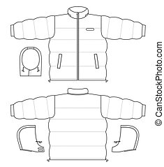Jacket - Outline black-white jacket vector illustration...