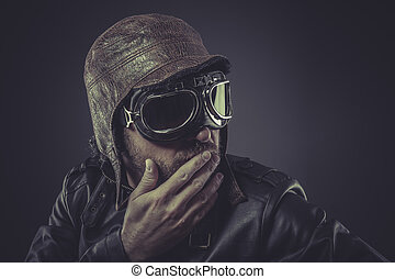 jacket, pilot dressed in vintage style leather cap and goggles