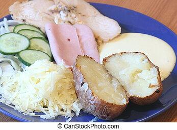 Jacket potato meal - Jacket potato with salad ham and cheese...