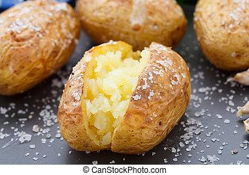 Jacket potato - Freshly baked jacket potato on a plate