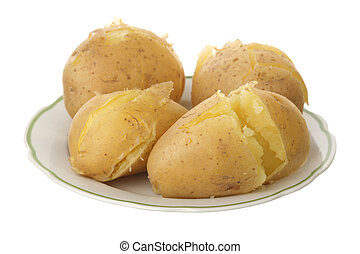 Jacket potato in a plate