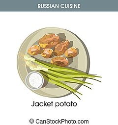 Jacket potato with fresh leek from traditional Russian cuisine