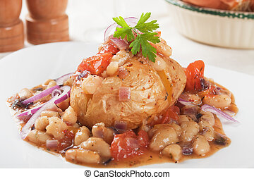 Jacket potato with white beans, healthy vegetarian meal