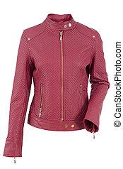 jacket - Woman leather jacket isolated on a white background...