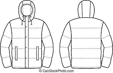 jacket outline blue jacket vector illustration isolated on white