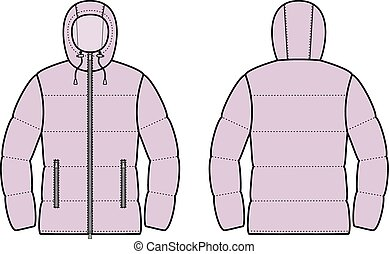 Jacket - Vector illustration of winter quilted jacket. Front...